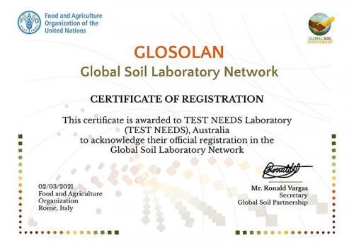 Global Soil Laboratory Network - Certificate of Registration